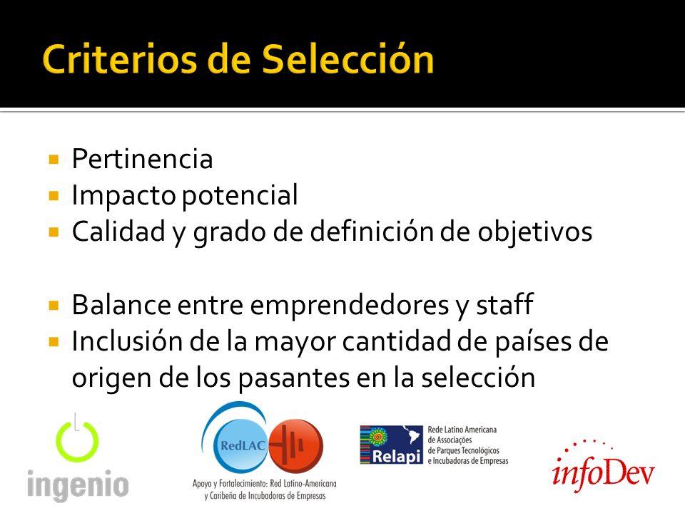Pertinencia Impacto potencial Calidad y grado de definición de objetivos Balance entre emprendedores y staff Inclusión de la mayor cantidad de países de origen de los pasantes en la selección