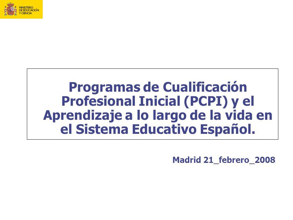 Programas de Cualificación Profesional Inicial (PCPI) y el Aprendizaje a lo largo de la vida en el Sistema Educativo Español. Madrid 21_febrero_2008
