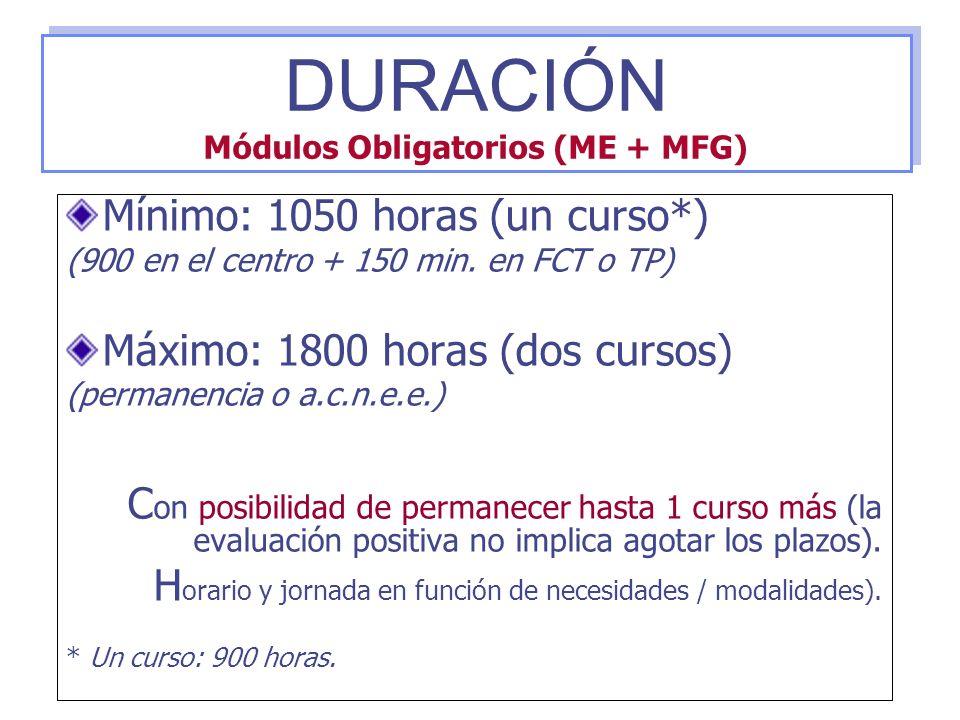 Mínimo: 1050 horas (un curso*) (900 en el centro + 150 min. en FCT o TP) Máximo: 1800 horas (dos cursos) (permanencia o a.c.n.e.e.) C on posibilidad d