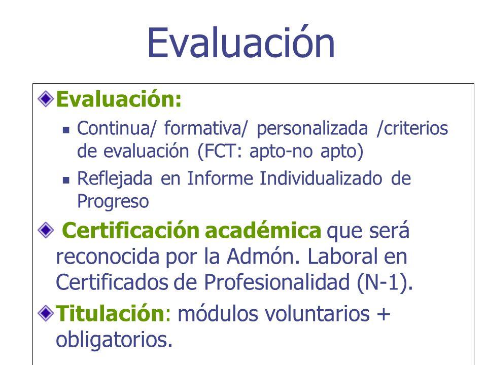 Evaluación: Continua/ formativa/ personalizada /criterios de evaluación (FCT: apto-no apto) Reflejada en Informe Individualizado de Progreso Certifica