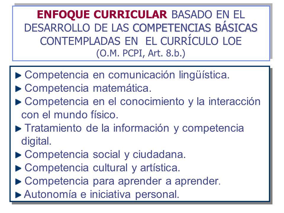 COMPETENCIAS BÁSICAS ENFOQUE CURRICULAR BASADO EN EL DESARROLLO DE LAS COMPETENCIAS BÁSICAS CONTEMPLADAS EN EL CURRÍCULO LOE (O.M. PCPI, Art. 8.b.) CO