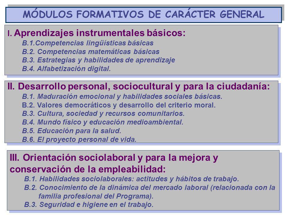 MÓDULOS FORMATIVOS DE CARÁCTER GENERAL I. Aprendizajes instrumentales básicos: B.1.Competencias lingüísticas básicas B.2. Competencias matemáticas bás