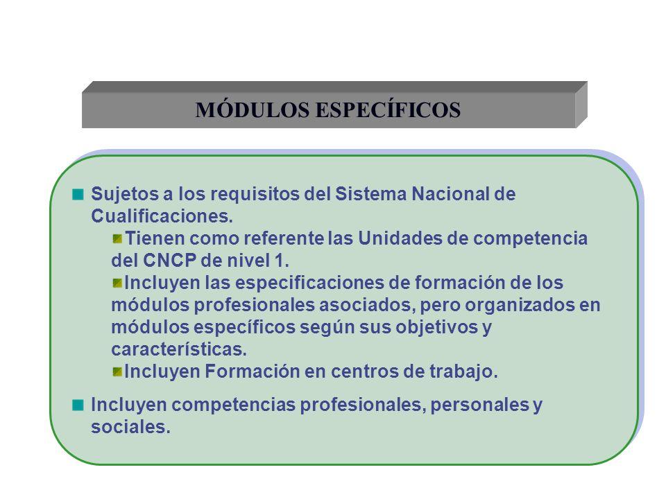 MÓDULOS ESPECÍFICOS Sujetos a los requisitos del Sistema Nacional de Cualificaciones. Tienen como referente las Unidades de competencia del CNCP de ni