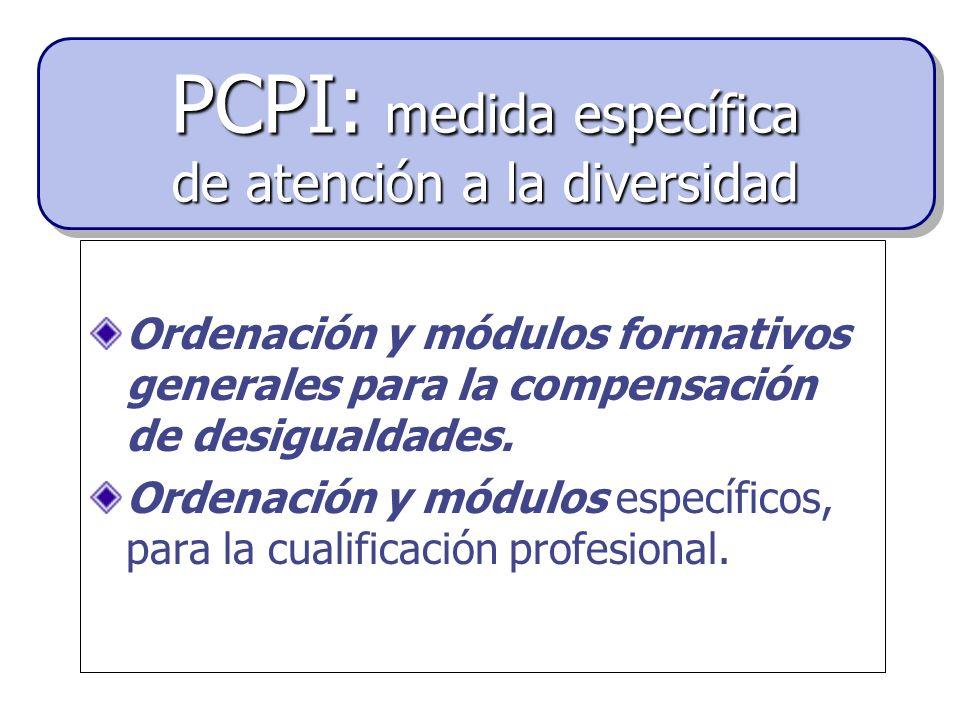 Ordenación y módulos formativos generales para la compensación de desigualdades. Ordenación y módulos específicos, para la cualificación profesional.