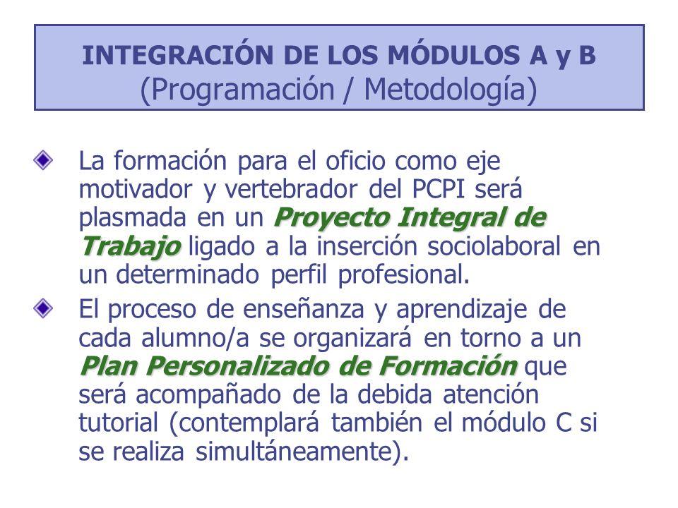 INTEGRACIÓN DE LOS MÓDULOS A y B (Programación / Metodología) Proyecto Integral de Trabajo La formación para el oficio como eje motivador y vertebrado