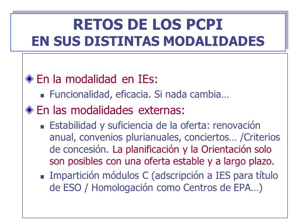 En la modalidad en IEs: Funcionalidad, eficacia. Si nada cambia… En las modalidades externas: Estabilidad y suficiencia de la oferta: renovación anual