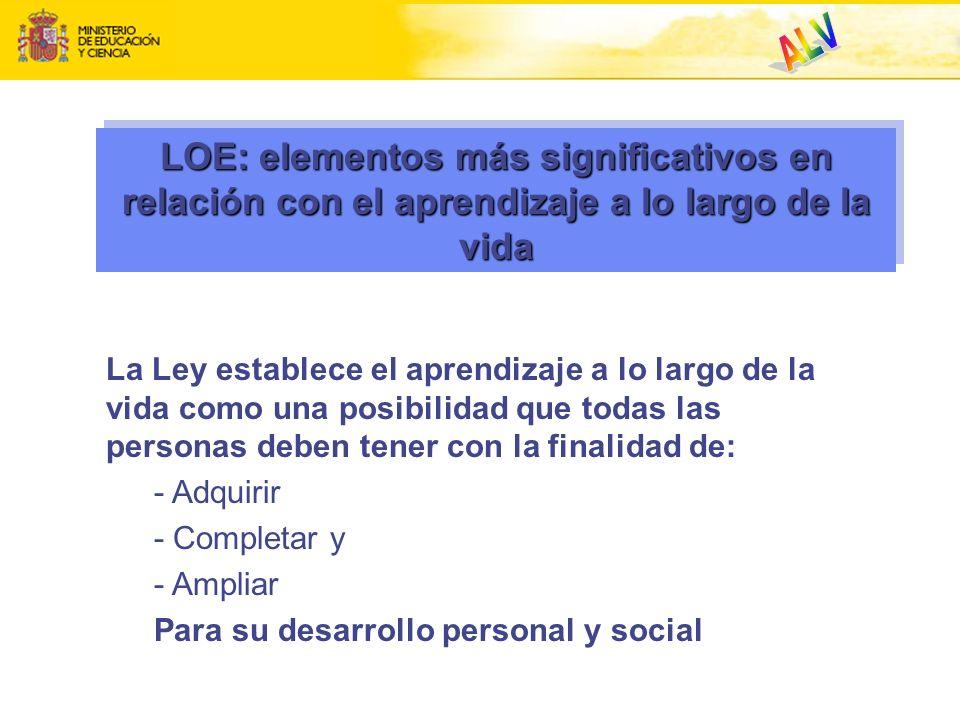 LOE: elementos más significativos en relación con el aprendizaje a lo largo de la vida La Ley establece el aprendizaje a lo largo de la vida como una