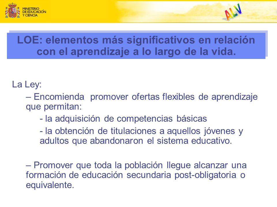 LOE: elementos más significativos en relación con el aprendizaje a lo largo de la vida. La Ley: – Encomienda promover ofertas flexibles de aprendizaje