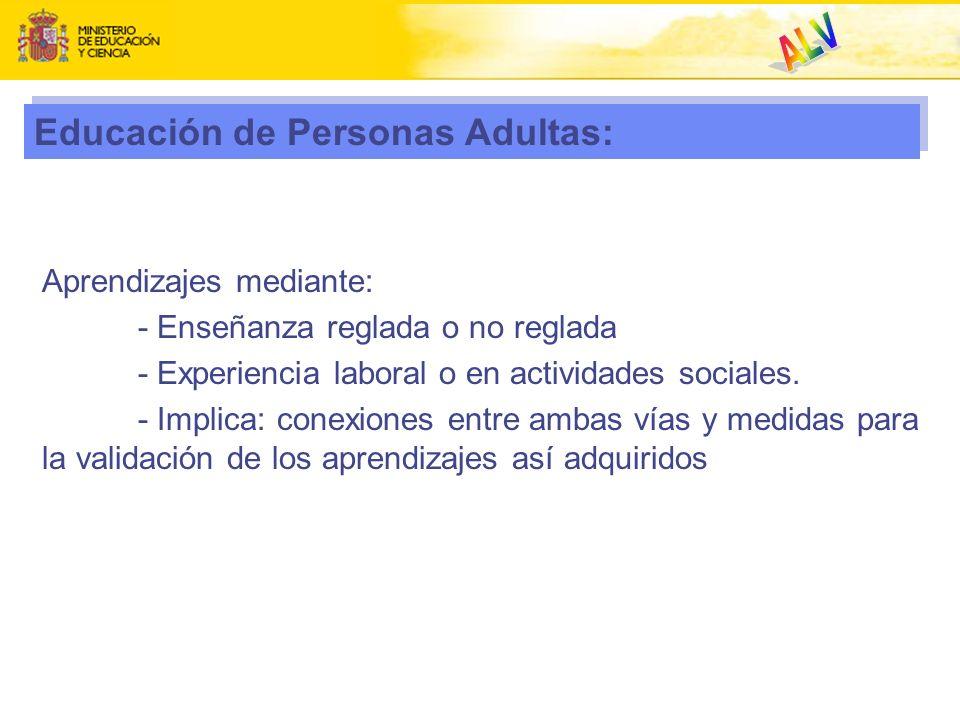 Educación de Personas Adultas: Aprendizajes mediante: - Enseñanza reglada o no reglada - Experiencia laboral o en actividades sociales. - Implica: con
