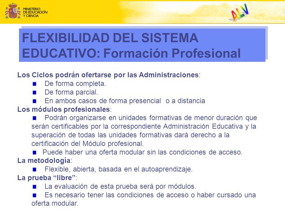 FLEXIBILIDAD DEL SISTEMA EDUCATIVO: Formación Profesional Los Ciclos podrán ofertarse por las Administraciones: De forma completa. De forma parcial. E