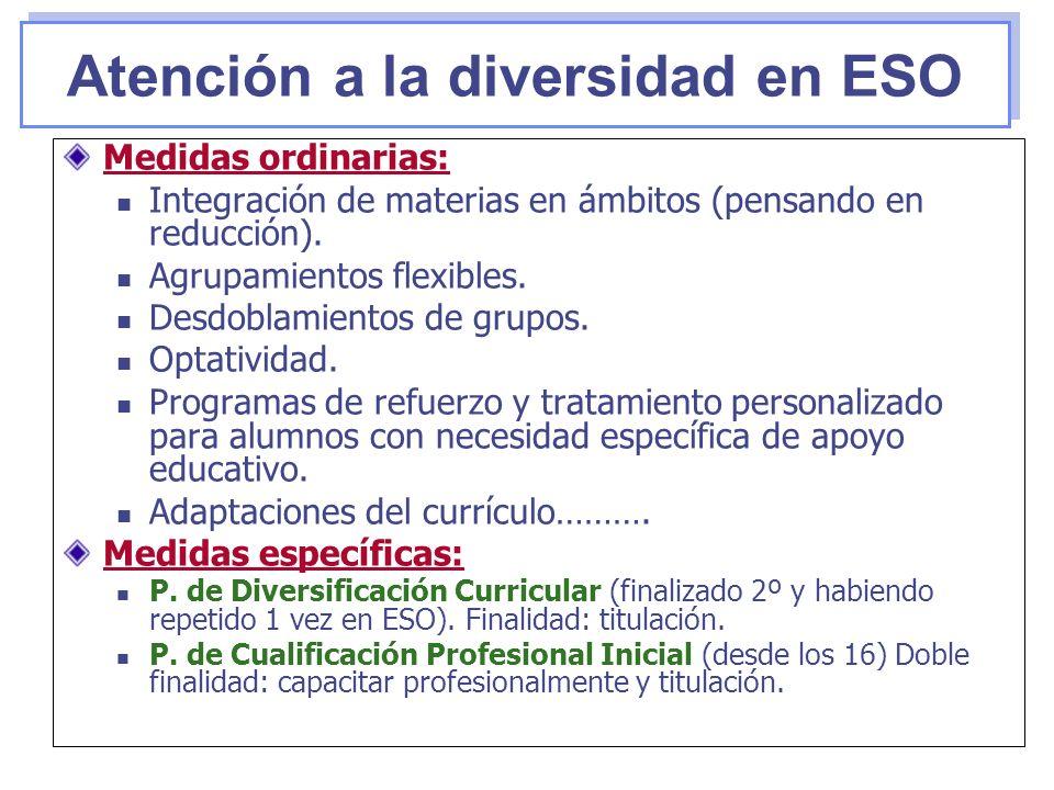 Medidas ordinarias: Integración de materias en ámbitos (pensando en reducción). Agrupamientos flexibles. Desdoblamientos de grupos. Optatividad. Progr