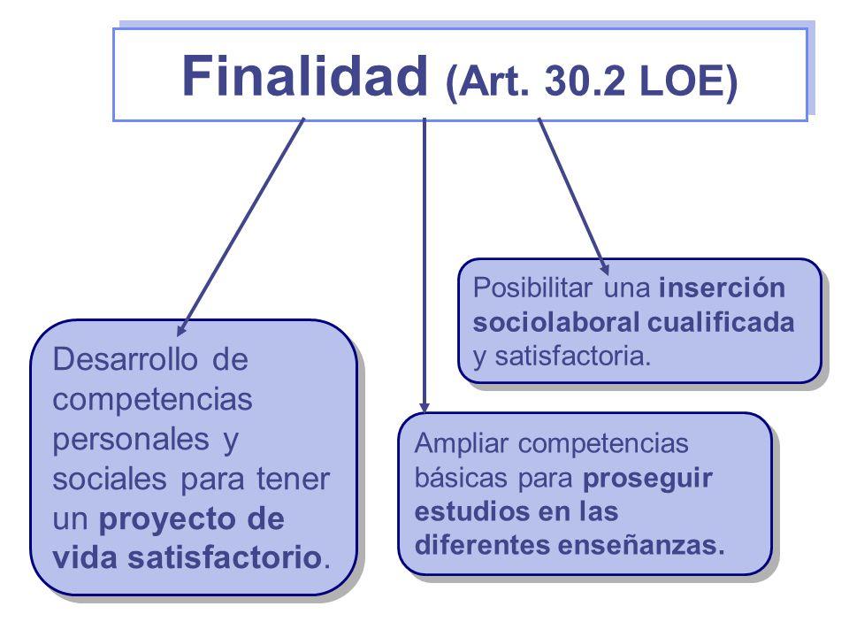 Finalidad (Art. 30.2 LOE) Desarrollo de competencias personales y sociales para tener un proyecto de vida satisfactorio. Posibilitar una inserción soc