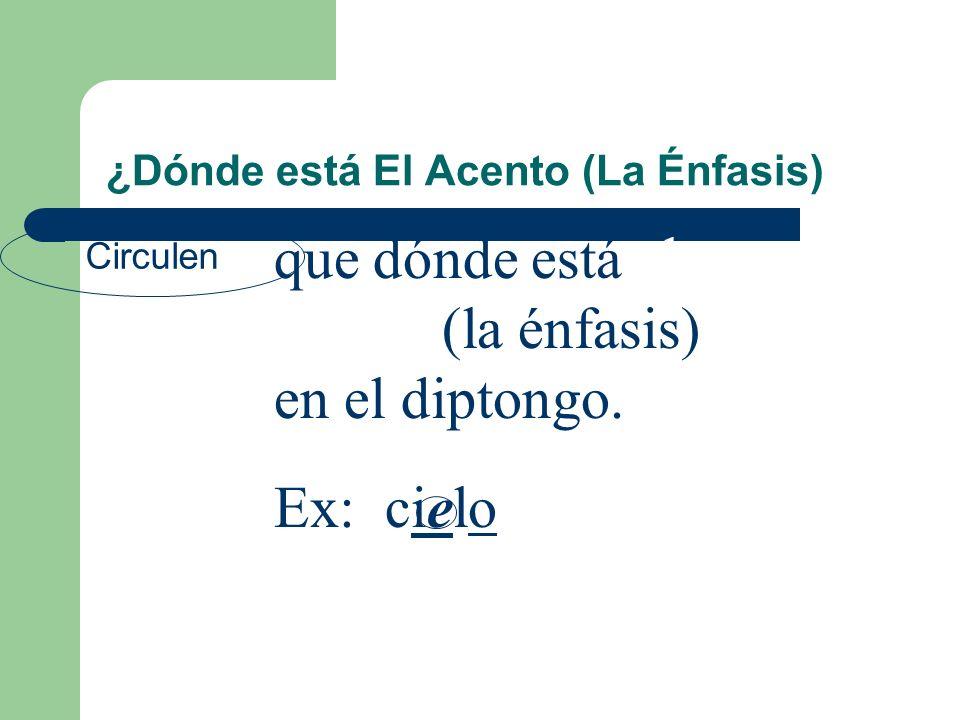 ¿Dónde está El Acento (La Énfasis) Circulen que dónde está el acento (la énfasis) en el diptongo.