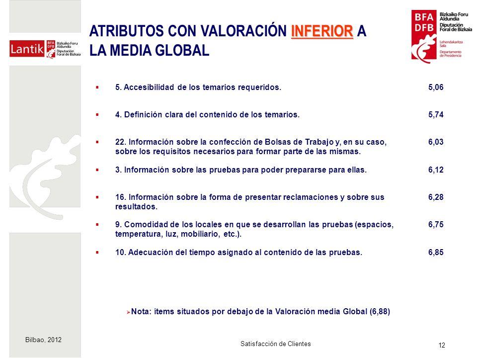 Bilbao, 2012 12 Satisfacción de Clientes Nota: ítems situados por debajo de la Valoración media Global (6,88) 5. Accesibilidad de los temarios requeri