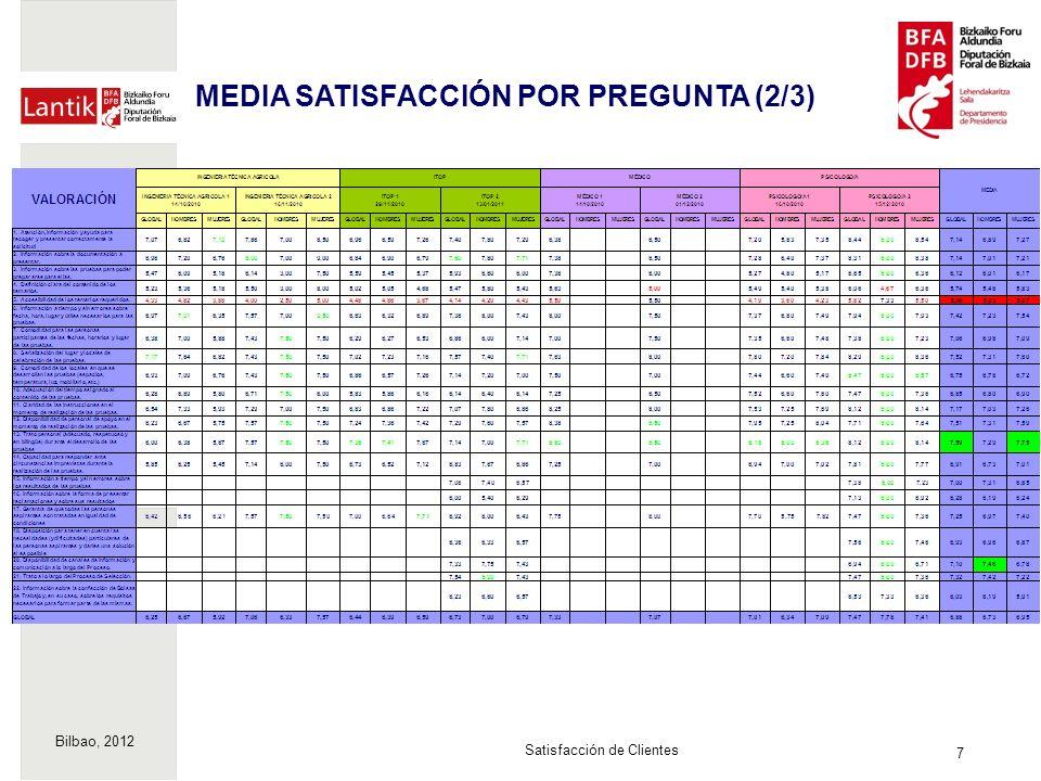Bilbao, 2012 18 Satisfacción de Clientes MEDIA IMPORTANCIA POR PREGUNTA (3/3)