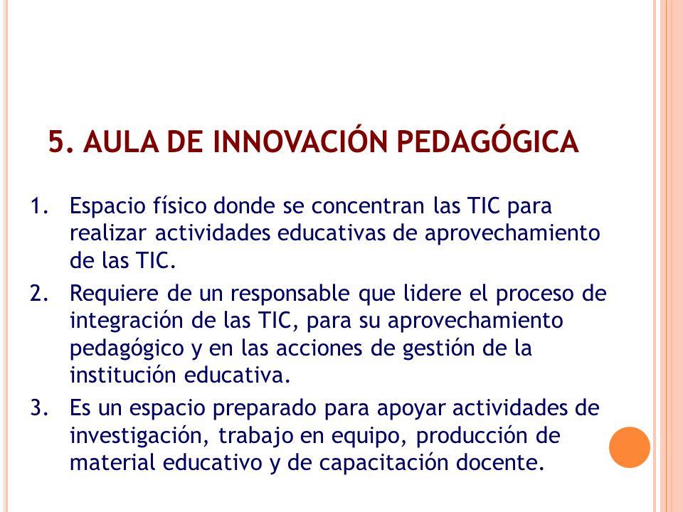 1.Espacio físico donde se concentran las TIC para realizar actividades educativas de aprovechamiento de las TIC. 2.Requiere de un responsable que lide
