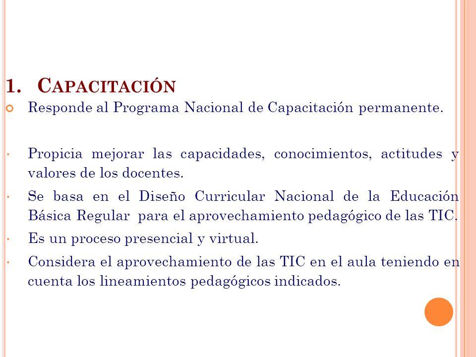 1.C APACITACIÓN Responde al Programa Nacional de Capacitación permanente. Propicia mejorar las capacidades, conocimientos, actitudes y valores de los