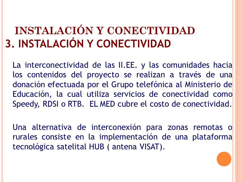 INSTALACIÓN Y CONECTIVIDAD 3. INSTALACIÓN Y CONECTIVIDAD La interconectividad de las II.EE. y las comunidades hacia los contenidos del proyecto se rea