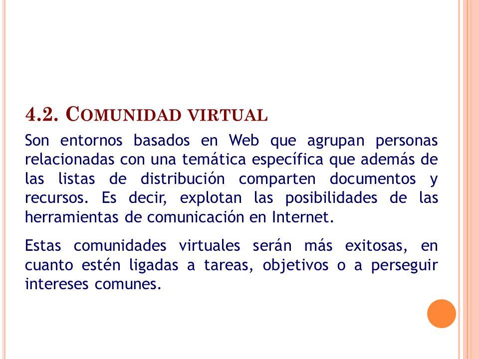4.2. C OMUNIDAD VIRTUAL Son entornos basados en Web que agrupan personas relacionadas con una temática específica que además de las listas de distribu