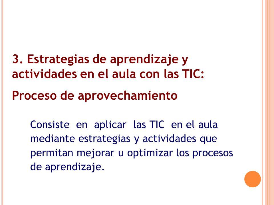 Consiste en aplicar las TIC en el aula mediante estrategias y actividades que permitan mejorar u optimizar los procesos de aprendizaje. 3. Estrategias