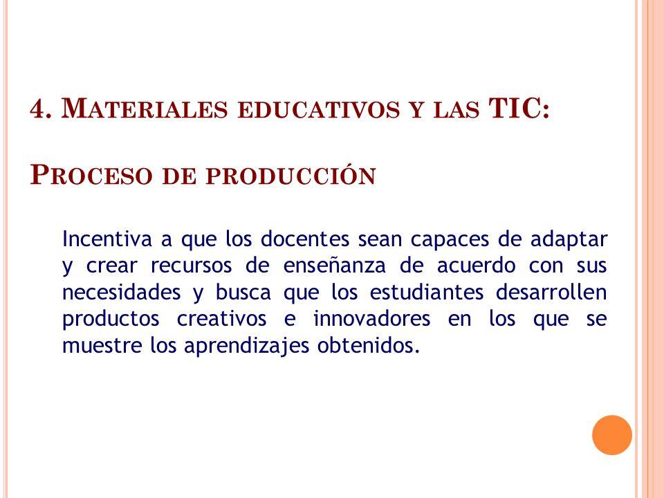 4. M ATERIALES EDUCATIVOS Y LAS TIC: P ROCESO DE PRODUCCIÓN Incentiva a que los docentes sean capaces de adaptar y crear recursos de enseñanza de acue