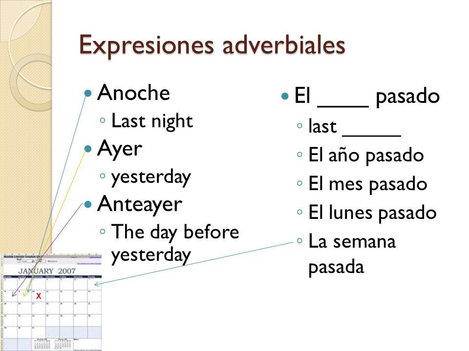 Expresiones adverbiales Anoche Last night Ayer yesterday Anteayer The day before yesterday El ____ pasado last _____ El año pasado El mes pasado El lu