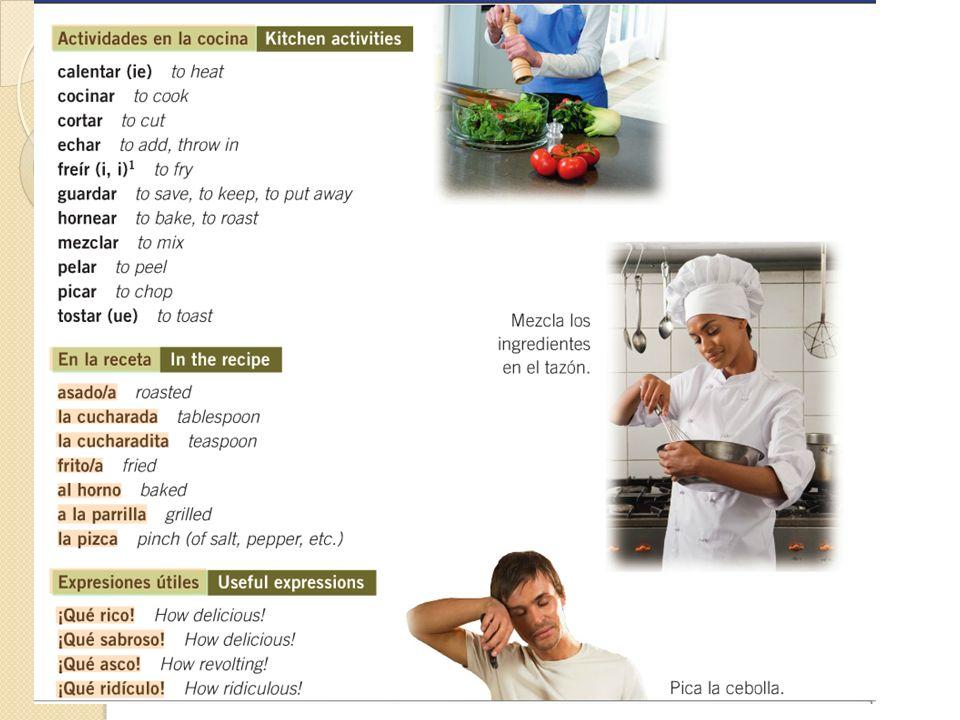 Otras palabras y expresiones A fuego alto On high heat A fuego mediano On medium heat A fuego lento/bajo On low/slow heat La receta The recipe