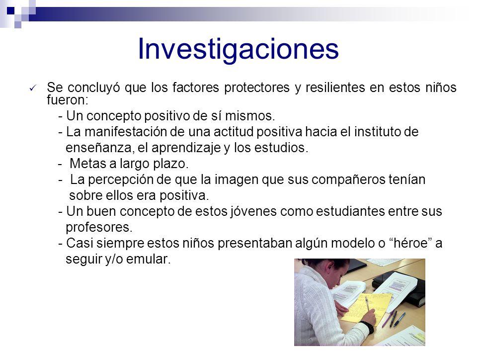 Investigaciones Judit Fullana Noell (Departamento de Pedagogía de la Universidad de Girona en España) Estudiaron los factores protectores que poseían