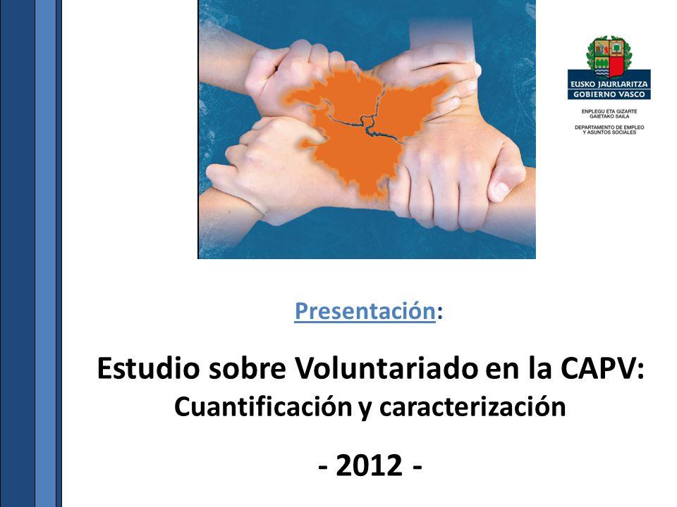 Estudio sobre Voluntariado en la CAPV: Cuantificación y caracterización - 2012 - Presentación: