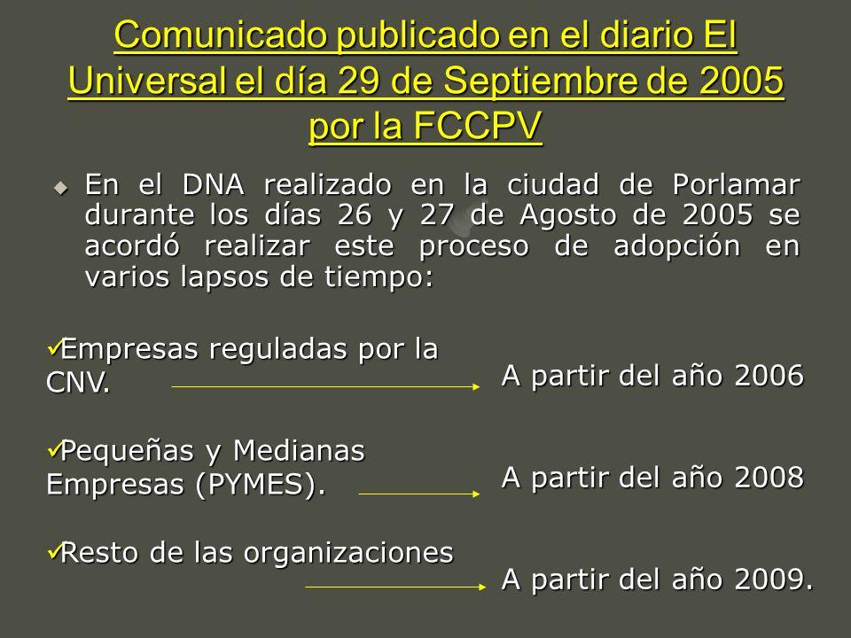 Comunicado publicado en el diario El Universal el día 29 de Septiembre de 2005 por la FCCPV En el DNA realizado en la ciudad de Porlamar durante los d