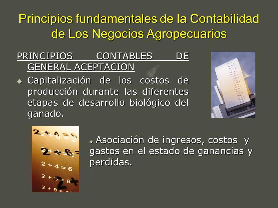 Principios fundamentales de la Contabilidad de Los Negocios Agropecuarios PRINCIPIOS CONTABLES DE GENERAL ACEPTACION Capitalización de los costos de p
