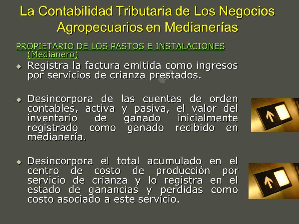 La Contabilidad Tributaria de Los Negocios Agropecuarios en Medianerías PROPIETARIO DE LOS PASTOS E INSTALACIONES (Medianero) Registra la factura emit