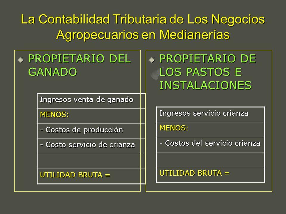 La Contabilidad Tributaria de Los Negocios Agropecuarios en Medianerías PROPIETARIO DEL GANADO PROPIETARIO DEL GANADO PROPIETARIO DE LOS PASTOS E INST