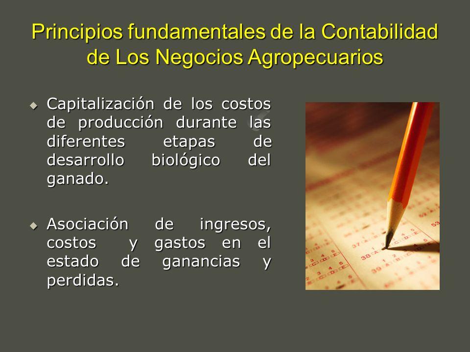 Principios fundamentales de la Contabilidad de Los Negocios Agropecuarios Capitalización de los costos de producción durante las diferentes etapas de