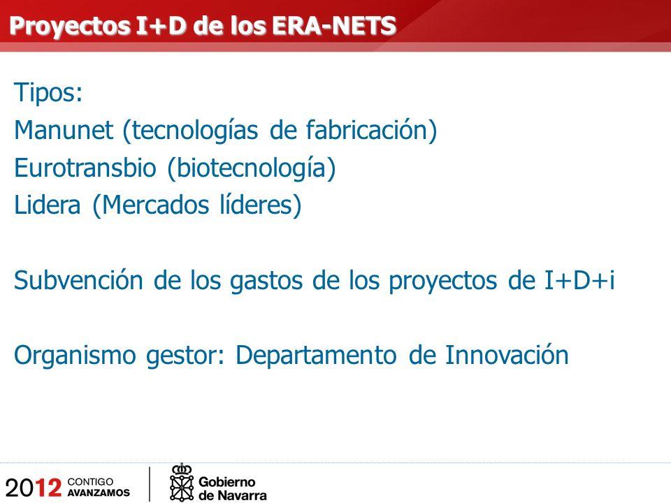 Tipos: Manunet (tecnologías de fabricación) Eurotransbio (biotecnología) Lidera (Mercados líderes) Subvención de los gastos de los proyectos de I+D+i Organismo gestor: Departamento de Innovación Proyectos I+D de los ERA-NETS Proyectos I+D de los ERA-NETS