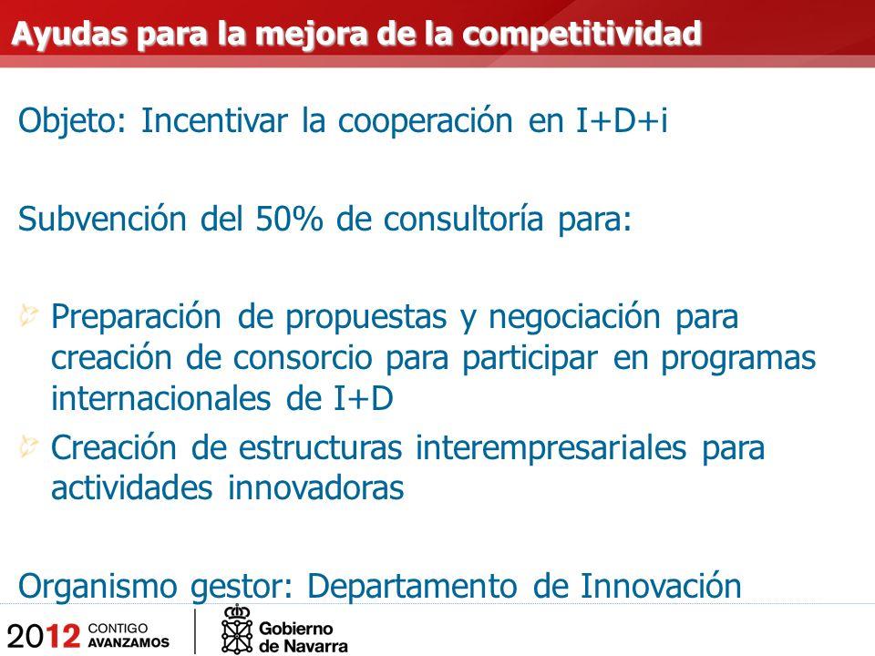 Objeto: Incentivar la cooperación en I+D+i Subvención del 50% de consultoría para: Preparación de propuestas y negociación para creación de consorcio para participar en programas internacionales de I+D Creación de estructuras interempresariales para actividades innovadoras Organismo gestor: Departamento de Innovación Ayudas para la mejora de la competitividad Ayudas para la mejora de la competitividad