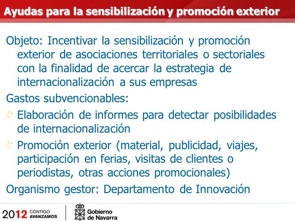 Objeto: Incentivar la sensibilización y promoción exterior de asociaciones territoriales o sectoriales con la finalidad de acercar la estrategia de in