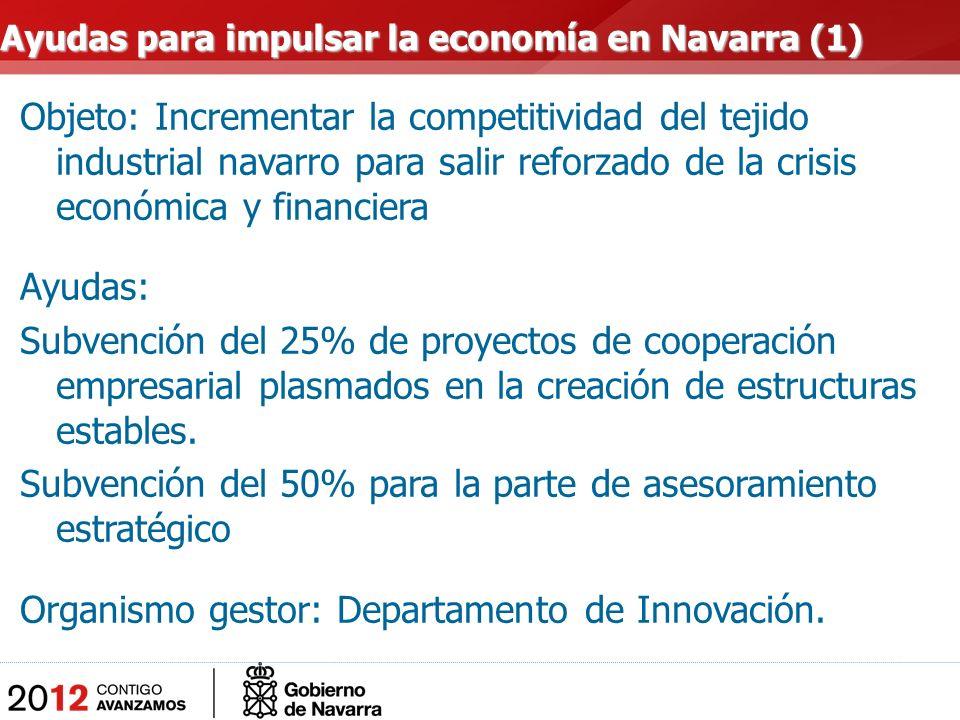 Objeto: Incrementar la competitividad del tejido industrial navarro para salir reforzado de la crisis económica y financiera Ayudas: Subvención del 25