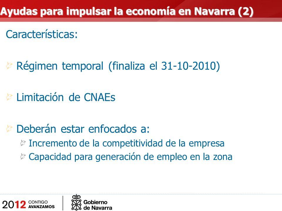 Características: Régimen temporal (finaliza el 31-10-2010) Limitación de CNAEs Deberán estar enfocados a: Incremento de la competitividad de la empresa Capacidad para generación de empleo en la zona Ayudas para impulsar la economía en Navarra (2)
