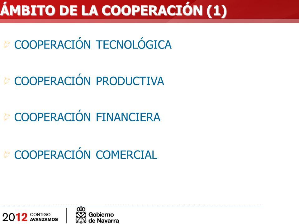 COOPERACIÓN TECNOLÓGICA COOPERACIÓN PRODUCTIVA COOPERACIÓN FINANCIERA COOPERACIÓN COMERCIAL ÁMBITO DE LA COOPERACIÓN (1)