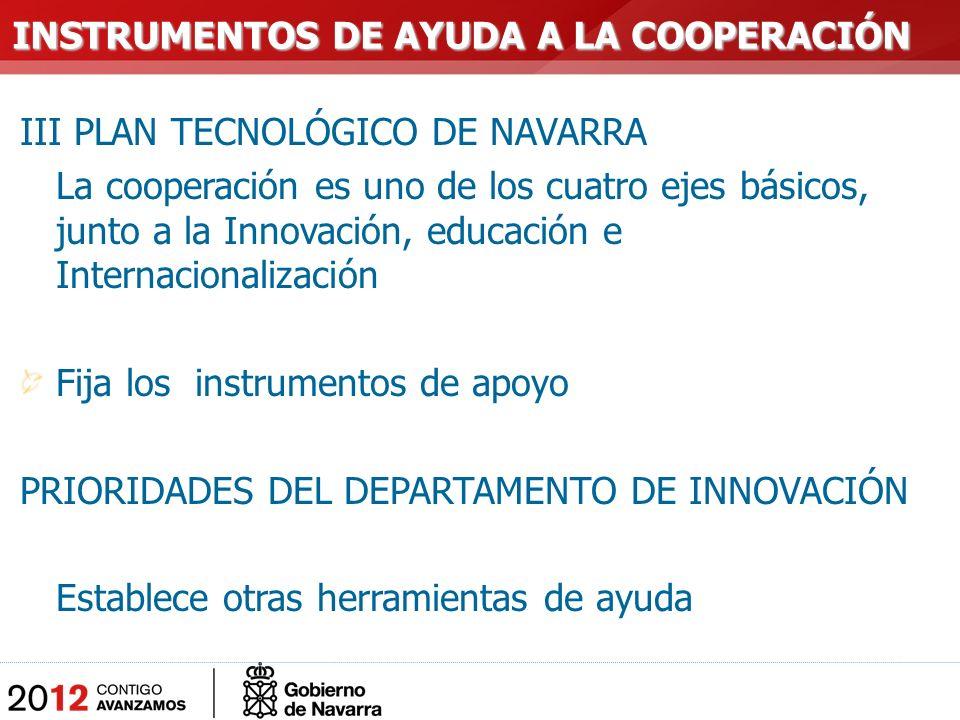 III PLAN TECNOLÓGICO DE NAVARRA La cooperación es uno de los cuatro ejes básicos, junto a la Innovación, educación e Internacionalización Fija los instrumentos de apoyo PRIORIDADES DEL DEPARTAMENTO DE INNOVACIÓN Establece otras herramientas de ayuda INSTRUMENTOS DE AYUDA A LA COOPERACIÓN INSTRUMENTOS DE AYUDA A LA COOPERACIÓN
