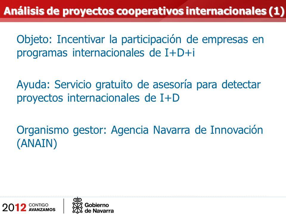 Objeto: Incentivar la participación de empresas en programas internacionales de I+D+i Ayuda: Servicio gratuito de asesoría para detectar proyectos internacionales de I+D Organismo gestor: Agencia Navarra de Innovación (ANAIN) Análisis de proyectos cooperativos internacionales (1) Análisis de proyectos cooperativos internacionales (1)