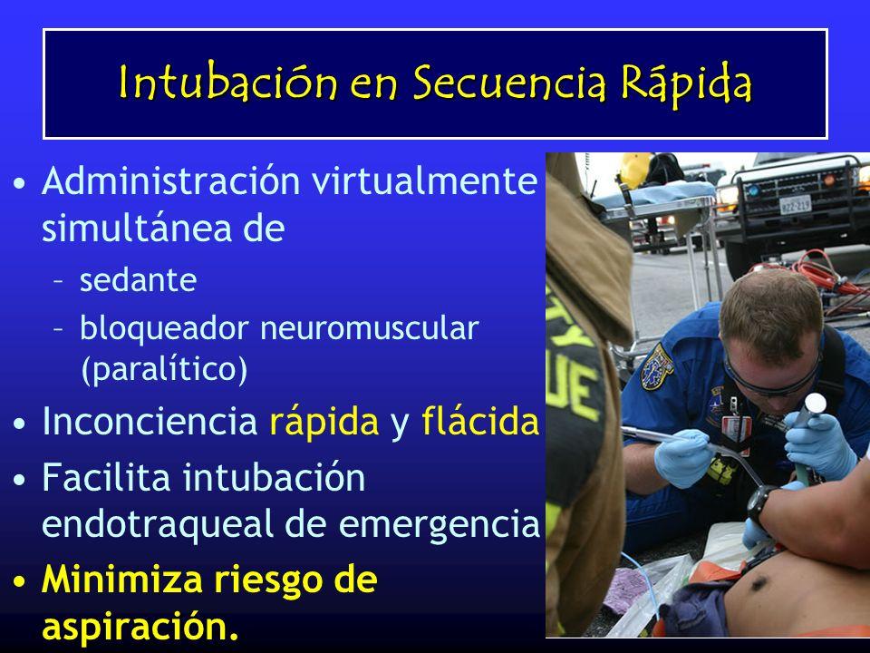 Intubación en Secuencia Rápida Administración virtualmente simultánea de –sedante –bloqueador neuromuscular (paralítico) Inconciencia rápida y flácida
