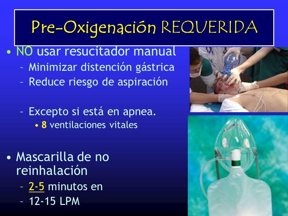 Pre-Oxigenación REQUERIDA NO usar resucitador manual –Minimizar distención gástrica –Reduce riesgo de aspiración –Excepto si está en apnea. 8 ventilac
