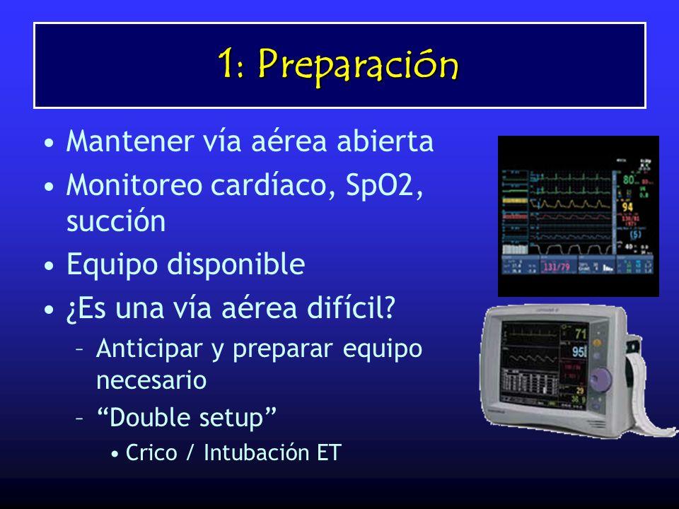 1: Preparación Mantener vía aérea abierta Monitoreo cardíaco, SpO2, succión Equipo disponible ¿Es una vía aérea difícil? –Anticipar y preparar equipo
