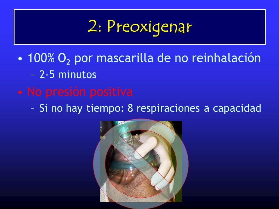 2: Preoxigenar 100% O 2 por mascarilla de no reinhalación –2-5 minutos No presión positiva –Si no hay tiempo: 8 respiraciones a capacidad