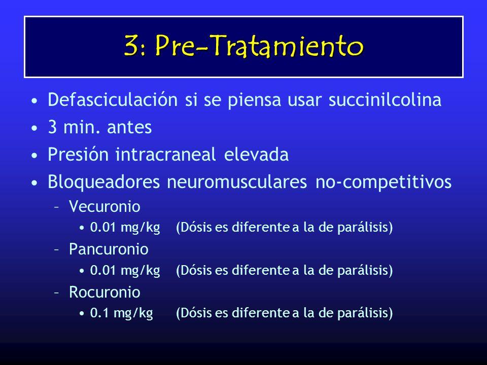 3: Pre-Tratamiento Defasciculación si se piensa usar succinilcolina 3 min. antes Presión intracraneal elevada Bloqueadores neuromusculares no-competit