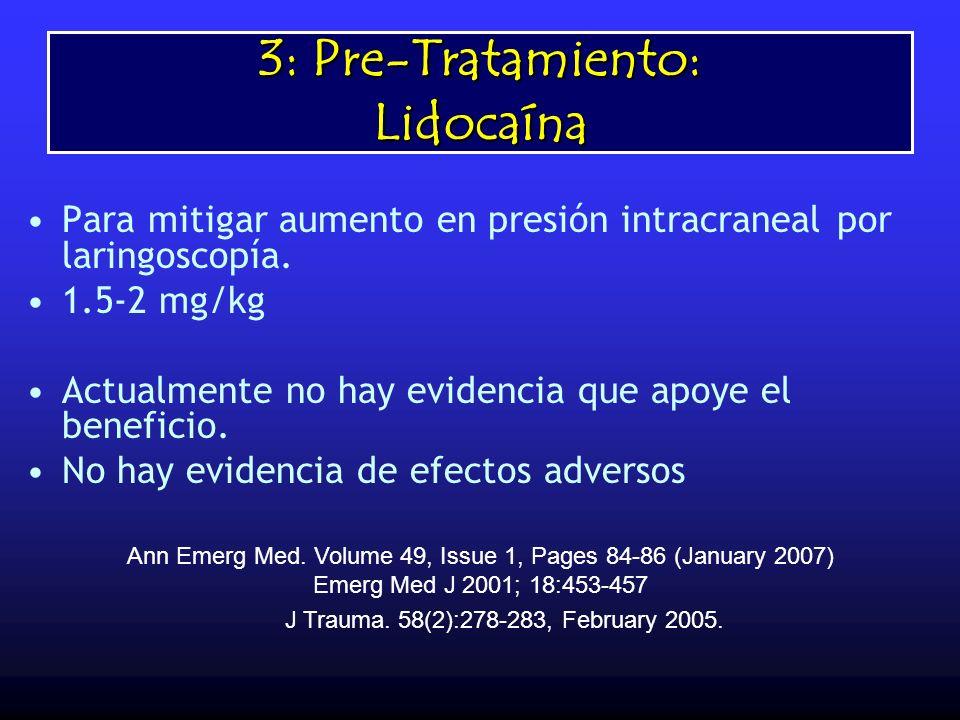 3: Pre-Tratamiento: Lidocaína Para mitigar aumento en presión intracraneal por laringoscopía. 1.5-2 mg/kg Actualmente no hay evidencia que apoye el be