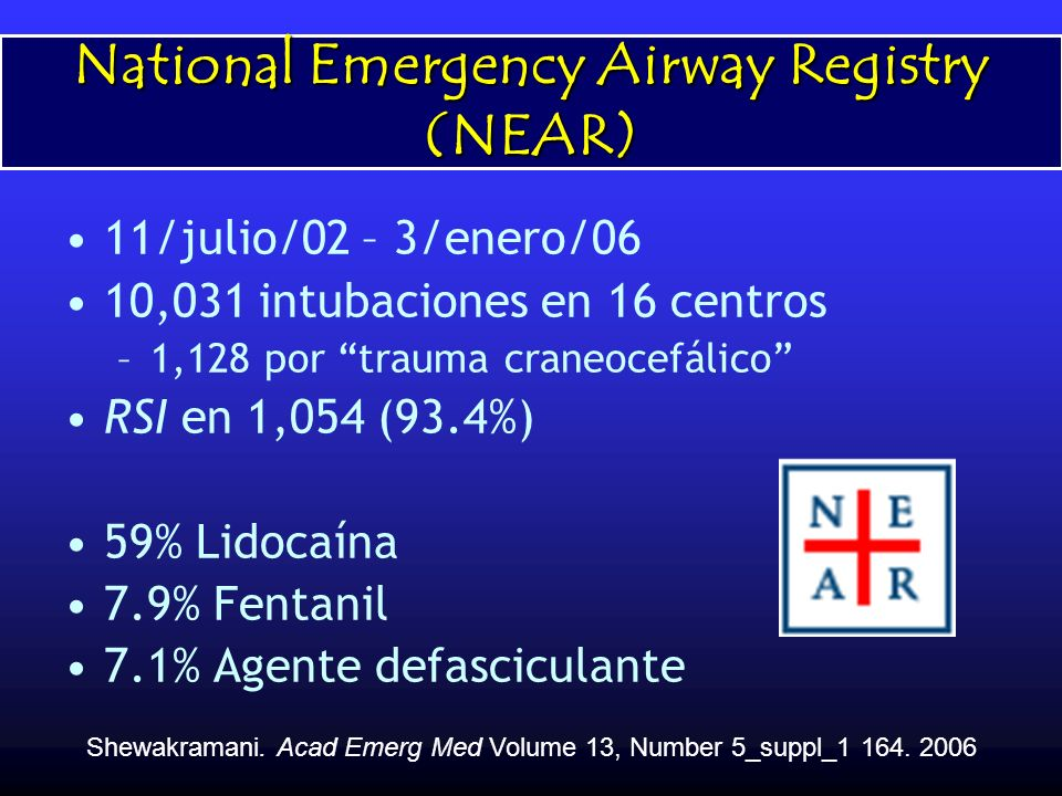National Emergency Airway Registry (NEAR) 11/julio/02 – 3/enero/06 10,031 intubaciones en 16 centros –1,128 por trauma craneocefálico RSI en 1,054 (93