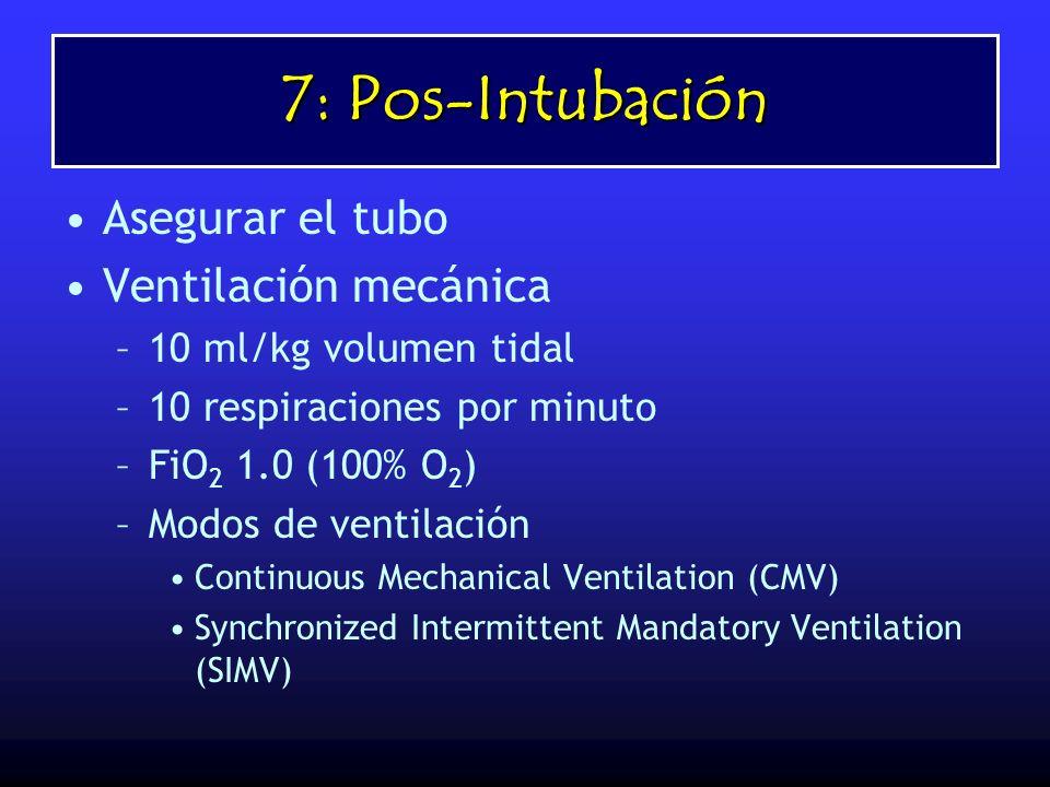 7: Pos-Intubación Asegurar el tubo Ventilación mecánica –10 ml/kg volumen tidal –10 respiraciones por minuto –FiO 2 1.0 (100% O 2 ) –Modos de ventilac